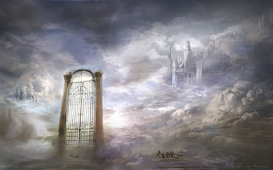 Gate to Heaven stock illustration Illustration of clouds